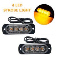2X 4 LED Advertencia del camión del coche Luz intermitente  emergencia Luz Ámbar