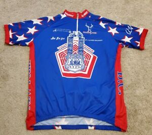 VERGE NYPD 9/11 Tour De Force Cycling Jersey Mens XXL 2XL USA Red White Blue