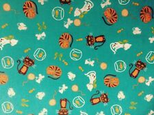 NEW Fabric  PolyCotton Kids Animals Cats Fish Cream Brown Reduced Price Material