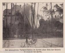 Verunglückter Perseval-Ballon im Garten in Grunewald. Nach einem Foto von 1909