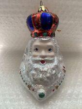 Vintage Santa's Best Santa Head Crown Hand Blown European Style Glass Ornament