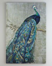 """Framed Handmade Peacock oil painting with silver foil canvas for wall 24x36"""""""