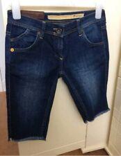 Fat Face Denim Shorts Size 8 Cut Offs Long Bermuda Skinny Raw Hem Dark Blue