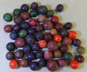 #14076m Vintage Group or Bulk Lot of Old Dyed Clay Marbles .53 to .70 Inches