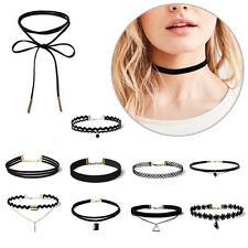 10pcs Sexy Velvet Lace Choker Collar Pendant Chain Necklace Set Womens Jewelry