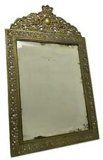 Antique French Louis XIV Baroque Ornate Brass Beveled Wall Table Vanity Mirror