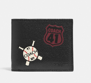 Coach 3 IN 1 Motif Mixed Patches Black Compact ID Men's Wallet NWT