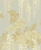 Floral Vintage Wallpaper Gold Silver Victorian Wisteria Blossoms Samples Too