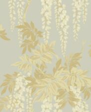 Floral Romantic Classic Wisteria Gold Cream Bronze Double Roll Wallpaper