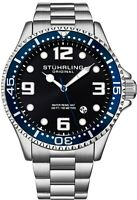 Stuhrling Men's Quartz Diver Silver Case Blue Bezel Black Dial Blue Accents
