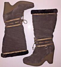 COLE HAAN Womens 7 Brown Suede Boots Wedge Heel Fleece Fur Lined Tall Knee $495