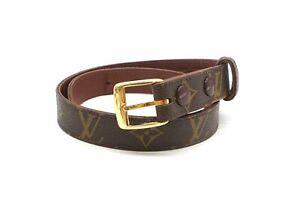 Louis Vuitton Vintage 60 Monogram Belt Waistmark PVC Leather Brown 4883k