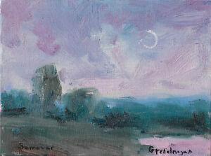 original painting 15 x 20 cm 25GrO art samovar modern oil canvas landcape Signed