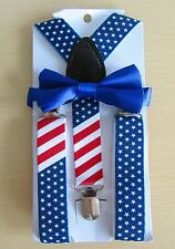 Boys Girls Blue Star America Flag Clip-on Suspender and Kids Bow Tie Sets