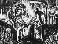 ART PRINT POSTER PAINTING DRAWING BLACK WHITE INDUSTRY STEEL WORKS MEN NOFL0927