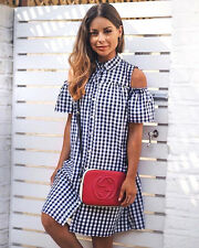 Primark Blue White Gingham Check Cold Shoulder Summer Shirt Dress Size 8 36