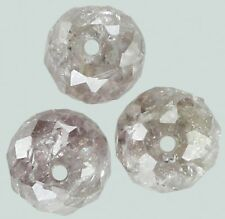 Natural Loose Diamond Round Bead Brown Pink Color I3 Clarity 3 Pcs 0.71 Ct KR686
