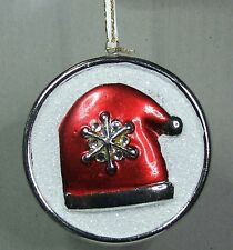 # CERAMIC CHRISTMAS TREE DECORATIONS DISC WITH HAT FREE POST