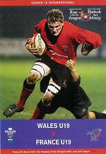 Le Pays de Galles moins de 19 V FRANCE 5 MAR 2004 Bridgend rugby programme