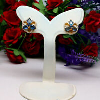 NATURAL HEATED 4 X 6 mm. PEAR BLUE SAPPHIRE EARRINGS 925 STERLING SILVER