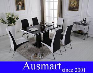 135cm - 150cm High gloss black & white dinning table & chairs