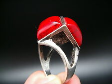 ANCIENNE BAGUE ARGENT TIBETAIN STYLE CORAIL taille 54