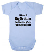 I Have A Big Brother... Blue Pink Cotton Bodysuit Baby Present Little Sister Bro