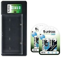 UNiROSS UNIVERSAL AA/AAA/C/D/PP3 BATTERY CHARGER+ 8 x AA 2600 SERIES BATTERIES