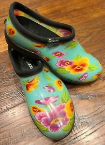 Sloggers Womens Floral Rain And Garden Slip On Clogs Womens Size 7