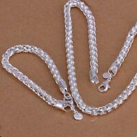 ASAMO Damen Schmuckset Rose Halskette Armreif Ohrringe Ring Silber plattiert