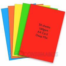 50 Sheets A4 160gsm Coloured Card DEEP MIX Bright Colours -39833