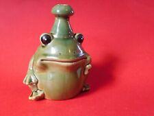 Unusual Oddity Glazed Stoneware Frog THUMB WATERER Vintage Bottle Garden Jug