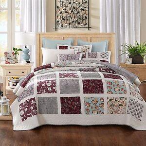 DaDa Bedding Blossom Floral Cottage Burgundy Reversible Patchwork Bedspread Set