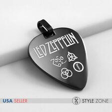 NEW Stainless Steel Led Zeppelin Guitar Pick Music Band Symbol Pendant Black 14A