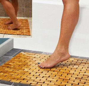 Folding Bamboo Wood Bathroom Bath Mat For Shower Spa Sauna with Non Slip Feet