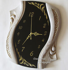 Wall clock with black glass and white wood silent movement