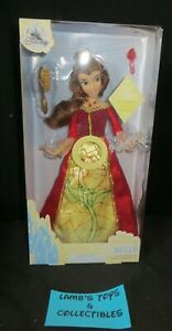 "ShopDisney Authentic 12.5"" Princess Belle Red Rose Light Up Dress W/ Sound Doll"