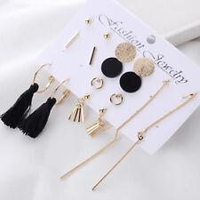 8 Pairs/Set Bohemian Tassel Drop Studs Earrings Mixed Statement Hoop Earrings JR