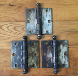 """3 VTG Brass Door Butt Hinges Ball Tip Removable Pins Used Wear National MFG 3"""""""