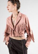 Pink Suede Moto Jacket Fringe Top Western Vintage Boho Free People Leather S