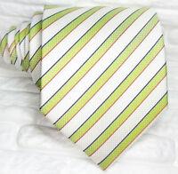 Cravatta seta Italia Regimental bianco verde business casual righe formale