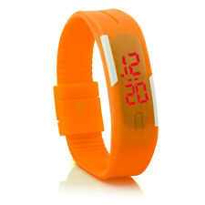 Digital Silikon LED Armband Uhr Armbanduhr Watch Herren Damen Kinder Orange