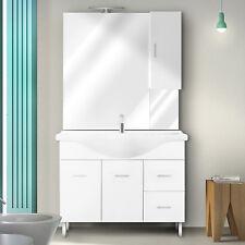 Mobile bianco lucido 85 cm lavabo ceramica, specchio con pensile e applique