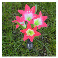 4 LED Solar Powered Red Lily Flower Light Waterproof Garden Yard Lamp Decor US