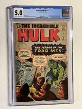 Incredible Hulk 2 cgc 5.0 cr/ow pages 1st green hulk