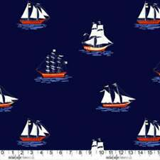 Out To Sea - SarahJane Fabric Navy Blue Nautical Quilting Cotton Ships 17 x 42