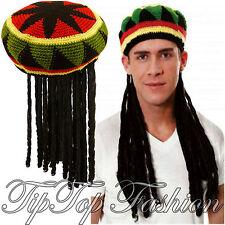New Adulte Homme Jamaican Rasta De Caraïbes Perruque Rasta Hat Bob Déguisement