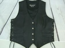 Bikers Club Womens XL Motorcycle Leather Vest Threaded Sides 4 pocket