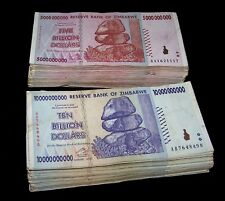 100 Zimbabwe Banknotes- 50 x 5 & 10 Billion Dollars-paper money currency