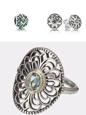 New Authentic Pandora Vintage Allure Green Spinel Ring Sz 54, Charm, Earnings